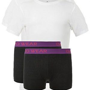 Bambus-Kombiset-2-weie-T-Shirts-mit-2-schwarzen-Boxershorts-0
