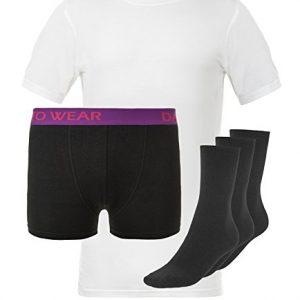 Komplettes-Bambus-Probierset-schwarze-Boxershorts-weies-T-Shirt-3-Paar-Socken-0