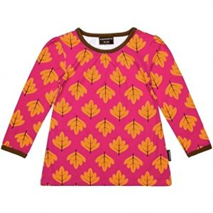 MAXOMORRA-Mdchen-A-Line-T-Shirt-TOP-LS-Bltter-Herbst-Pink-Biobaumwolle-GOTS-0
