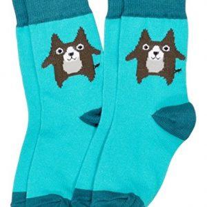 MAXOMORRA-Socken-Sckchen-Jungen-Brauner-Hund-Dog-Blau-Biobaumwolle-GOTS-0