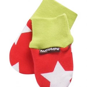 Maxomorra-Babyhandschuhe-Fustlinge-ohne-Daumen-Biobaumwolle-Stars-Red-0