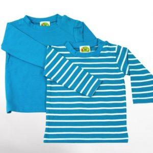Baby-Langarm-Shirts-2-teiliges-Bekleidungs-Set-aquatrkis-uni-weie-Ringelstreifen-2er-Set-Sommer-T-Shirts-Zweierpack-fr-Mchen-od-Jungen-100-ko-Tex-Baumwolle-von-DIMO-Gr-5056-6268-Gre-5056-0