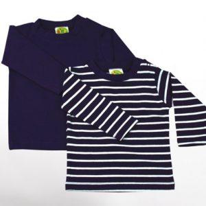 Baby-Langarm-Shirts-2-teiliges-Bekleidungs-Set-dunkellila-uni-weie-Ringelstreifen-2er-Set-Sommer-T-Shirts-Zweierpack-fr-Mchen-od-Jungen-100-ko-Tex-Baumwolle-von-DIMO-Gr-5056-6268-Gre-5056-0