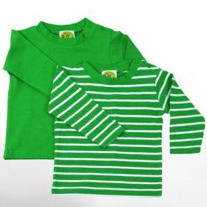Baby-Langarm-Shirts-2-teiliges-Bekleidungs-Set-grasgrn-uni-weie-Ringelstreifen-2er-Set-Sommer-T-Shirts-Zweierpack-fr-Mchen-od-Jungen-100-ko-Tex-Baumwolle-von-DIMO-Gr-5056-6268-Gre-6268-0