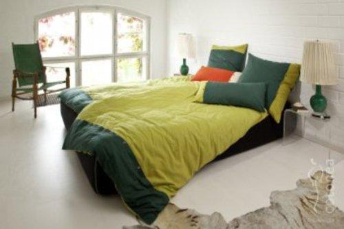 cotonea edelbiber bettw sche bio baumwolle kba stella olivgr n pinie 135x200cm 80x80cm. Black Bedroom Furniture Sets. Home Design Ideas