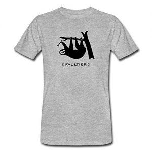 Faultier-Faul-Faulpelz-Tier-T-Shirts-Mnner-Bio-T-Shirt-von-Spreadshirt-XXL-Grau-meliert-0