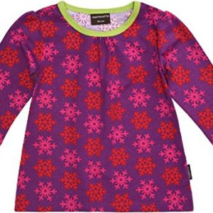 MAXOMORRA-Mdchen-A-Line-T-Shirt-Langarm-Schneeflocke-Lila-Pink-Biobaumwolle-GOTS-0
