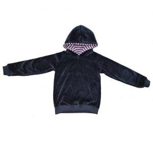 Storchenkinder-BabyKinder-Nicky-Kapuzenpullover-aus-Bio-Baumwolle-Anthrazit-mit-rosa-Kapuze-Gr-134140-0