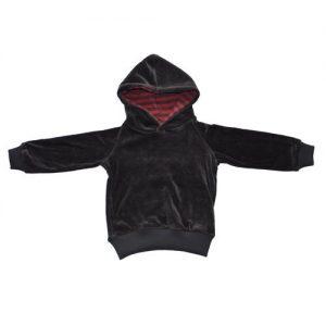 Storchenkinder-BabyKinder-Nicky-Kapuzenpullover-aus-Bio-Baumwolle-Anthrazit-mit-roter-Kapuze-Gr-134140-0