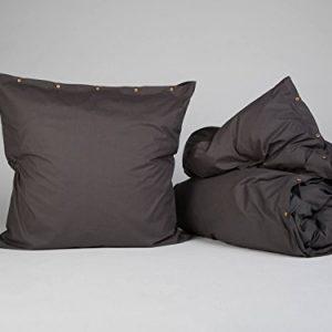 Yumeko-Bettwsche-Bettwscheset-Perkal-Baumwolle-135x220-cm-Kissenbezug-80x80-cm-Dark-Grey-Dunkelgrau-fest-glatt-knisternd-100-biologische-Baumwolle-kologisch-atmungsaktiv-Hotelqualitt-0